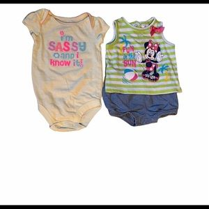3/$25 🎀 Disney Minnie Mouse Top & Shorts